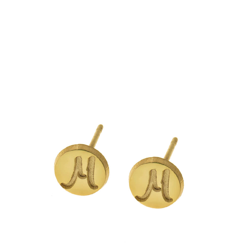 Disc Stud Earrings With Initials gold