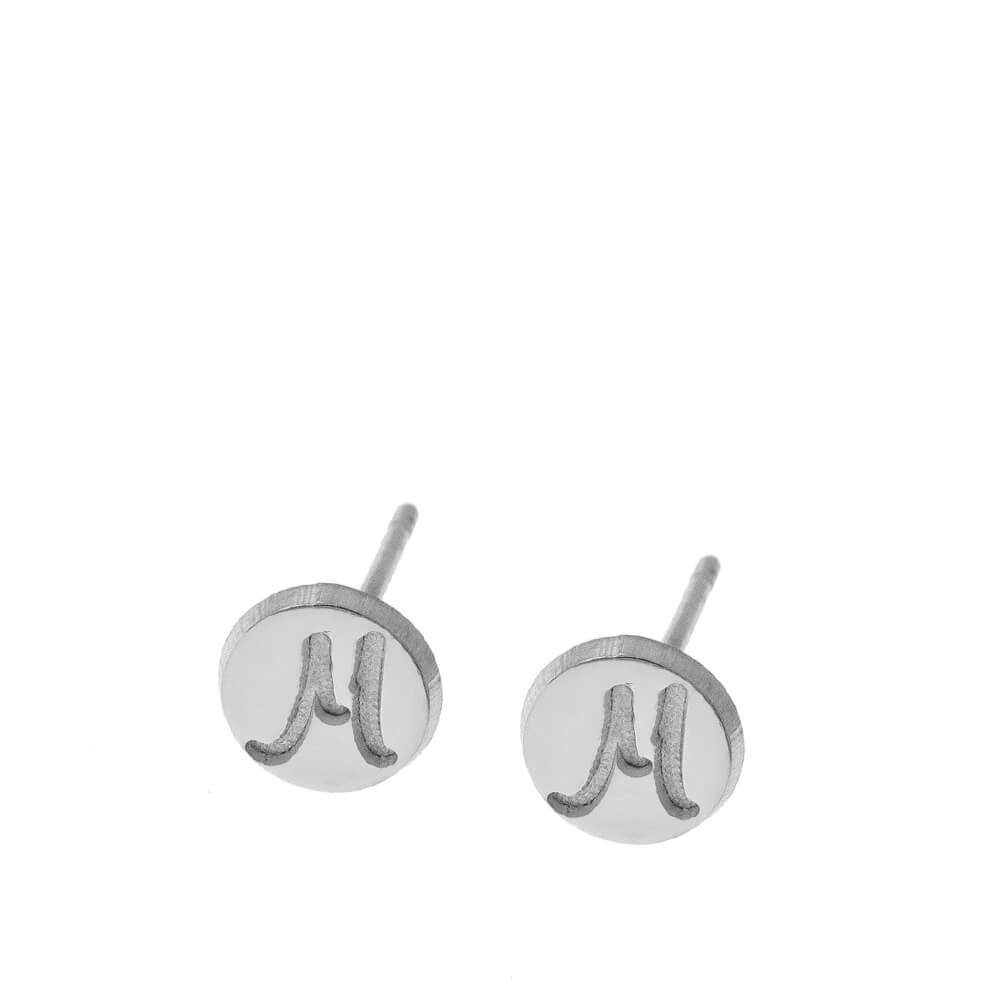 Disc Stud Earrings With Initials silver
