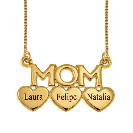 Mom Engraved Necklace with Hearts
