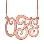 Monogram Three Initials Necklace rose gold