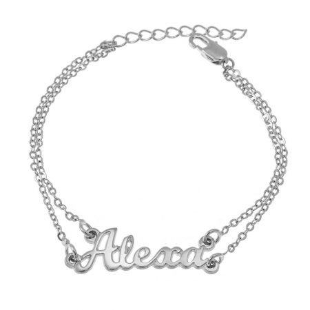 Cut Out Name Double Chain Bracelet