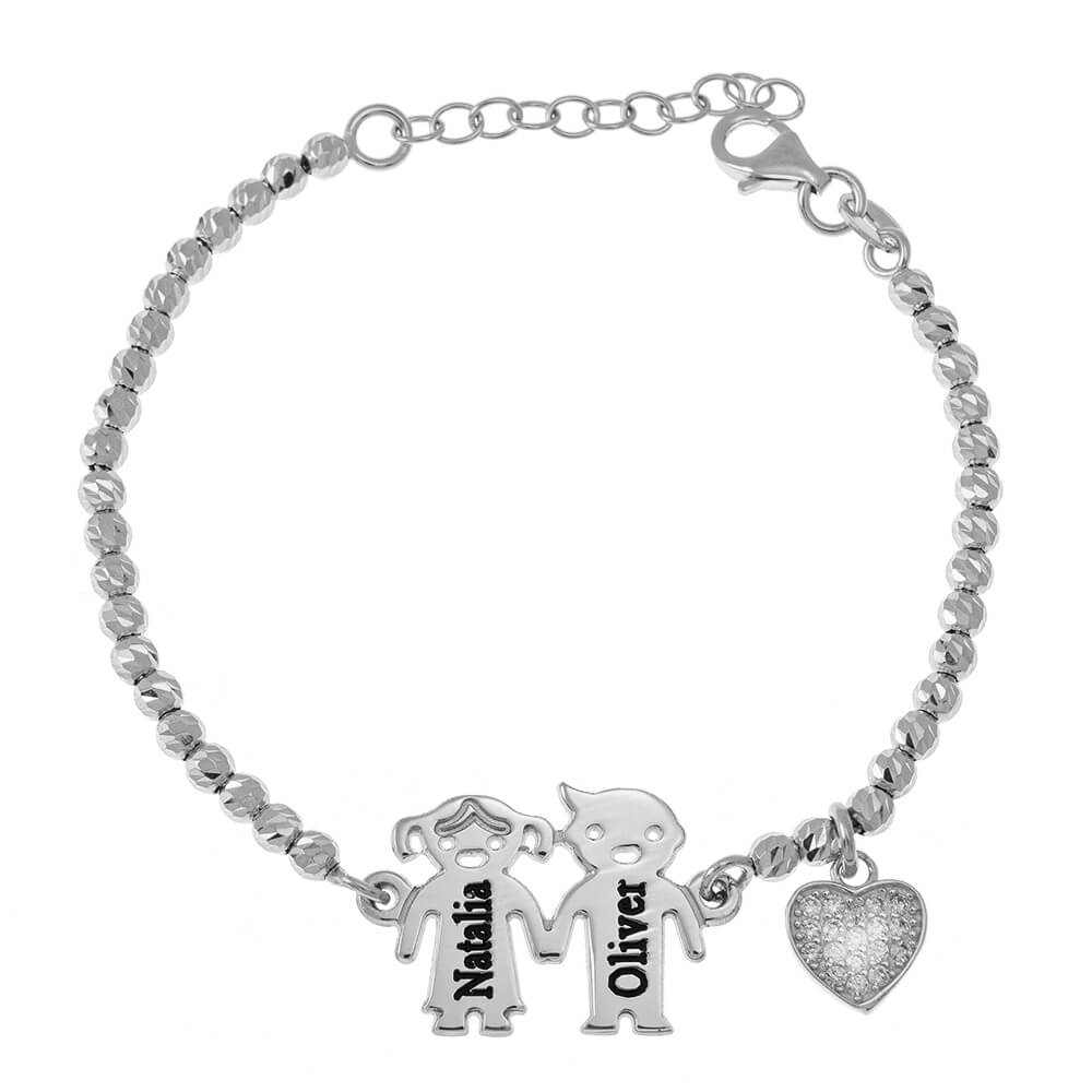 Engraved Children Bead Bracelet With Inlay Heart silver