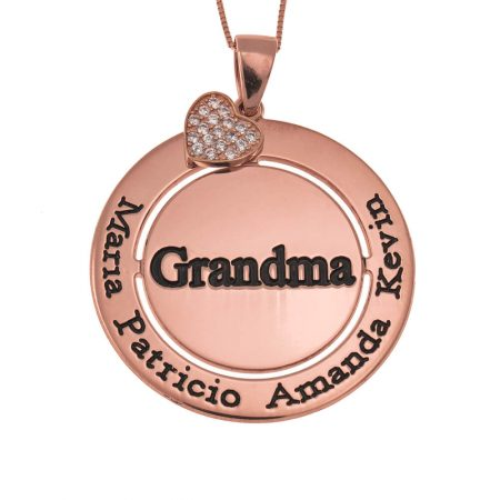 Circular Grandma necklace with sparkling Inlay Heart