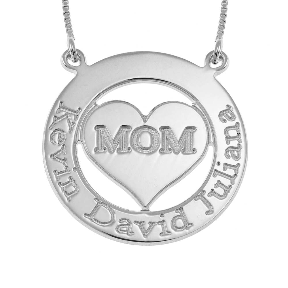 Engraved Circle Mom Necklace with Heart silver