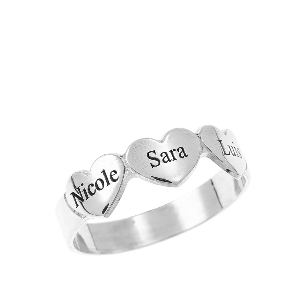 Engraved Hearts & Names Ring silver