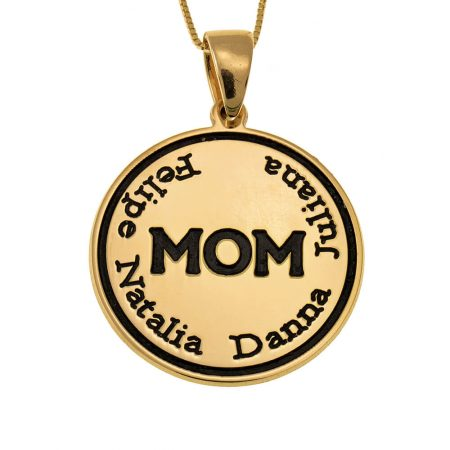 Engraved Mom Disc Necklace