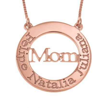 Engraved Mom Hollow Circle Necklace