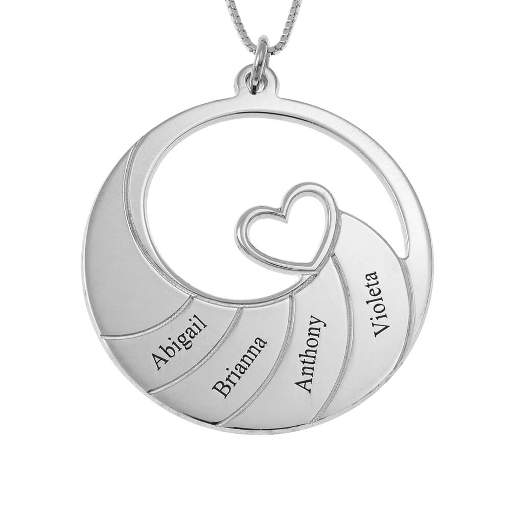 Four Names Spiral Necklace silver