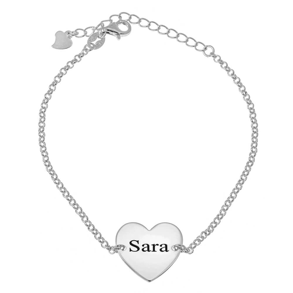 Heart Name Bead Bracelet silver