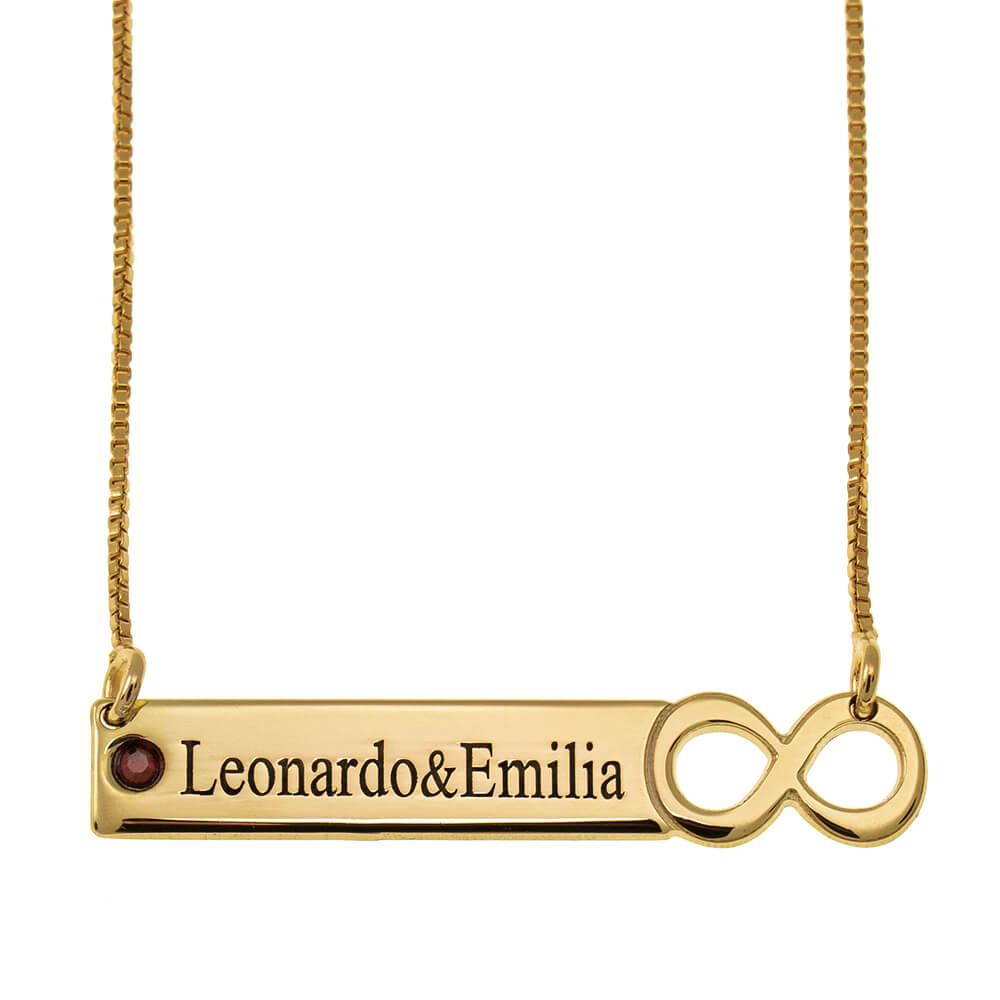 Infinity Bar Necklace with engraving gold