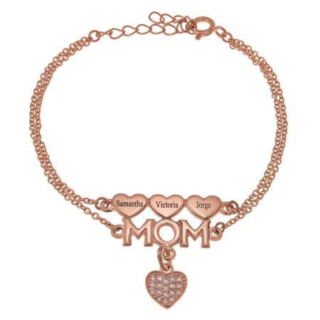 Mom Double Chain Bracelet with Hearts and Inlay Heart