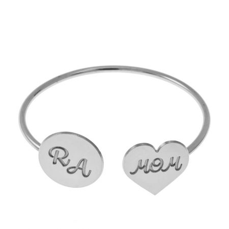 Open Bangle with Mom Heart and Disc