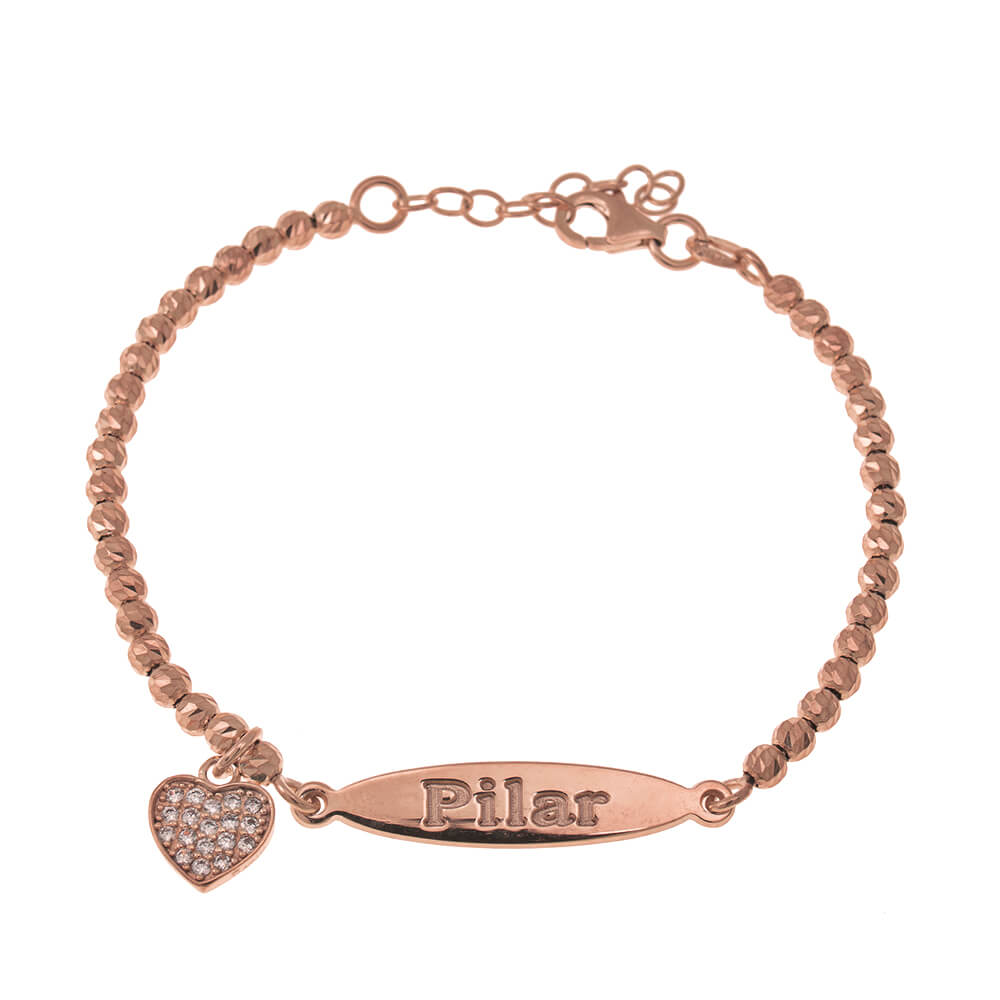 Oval Name Bead Bracelet With Inlay Heart Pendant rose gold