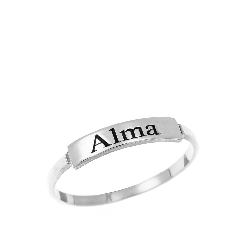 Stackable Name Ring silver