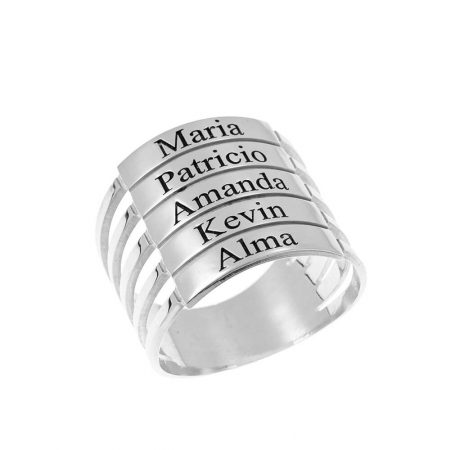 Five Stackable Name Ring