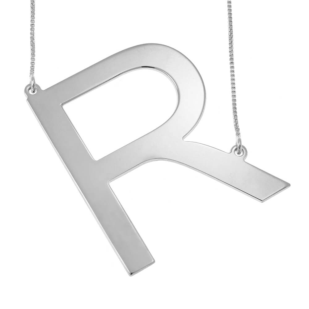 Big Initial Letter Necklace silver