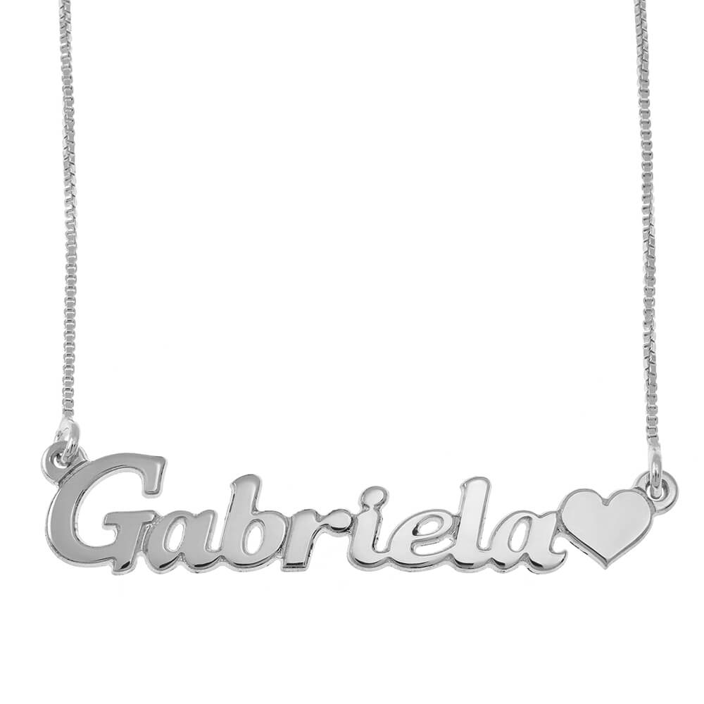 Classic Name Necklace With Heart silver