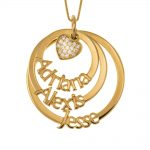 Cut Out Mother Layers Discs Necklace With Inlay Heart gold