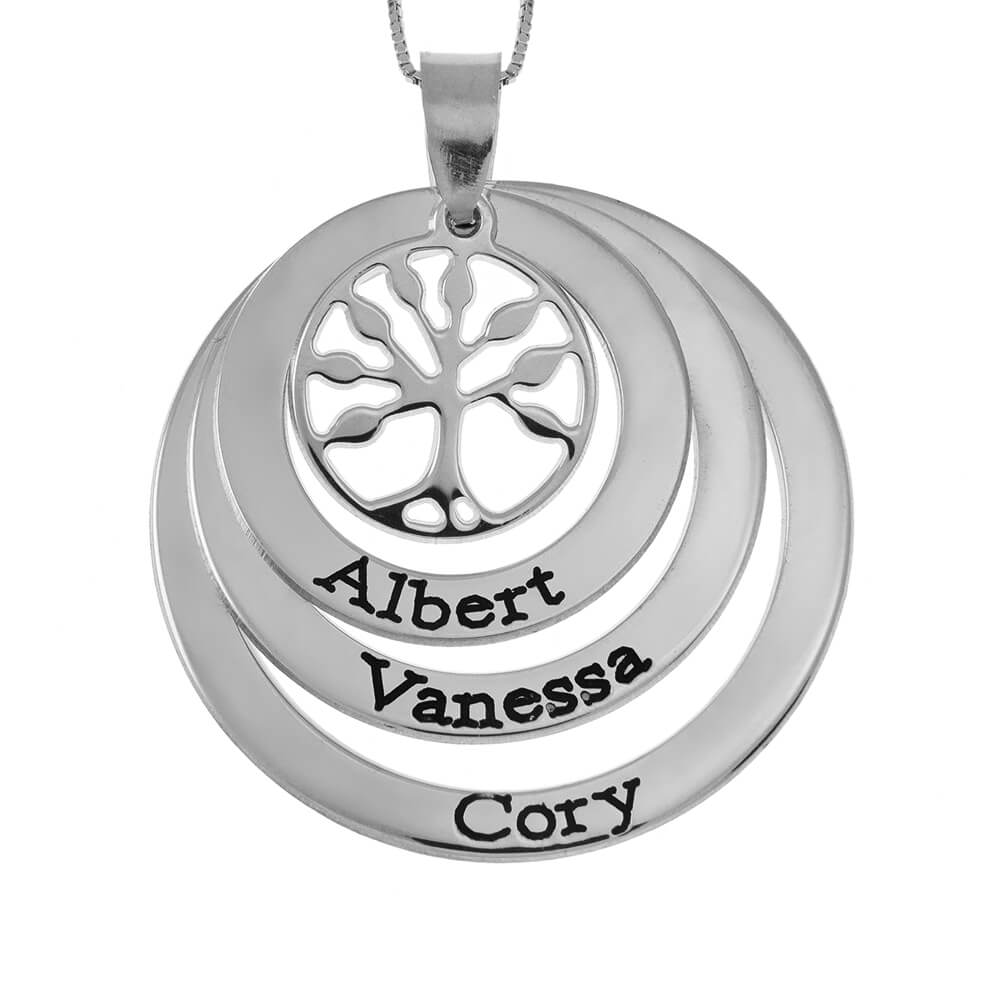 Family Layers Discs Necklace With Tree Of Life silver