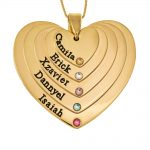 Five Shades Engraved Hearts Mother Necklace With Birthstones gold