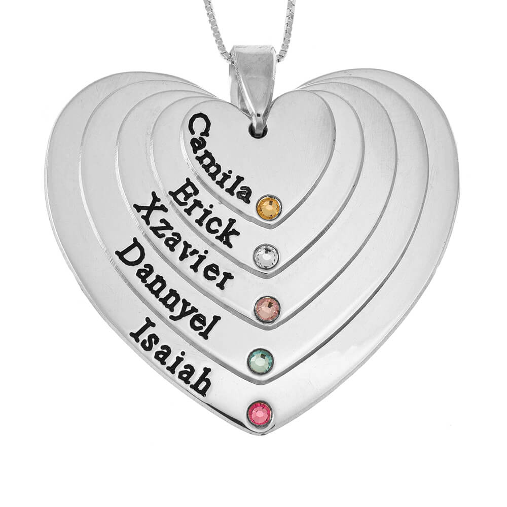 Five Shades Engraved Hearts Mother Necklace With Birthstones silver