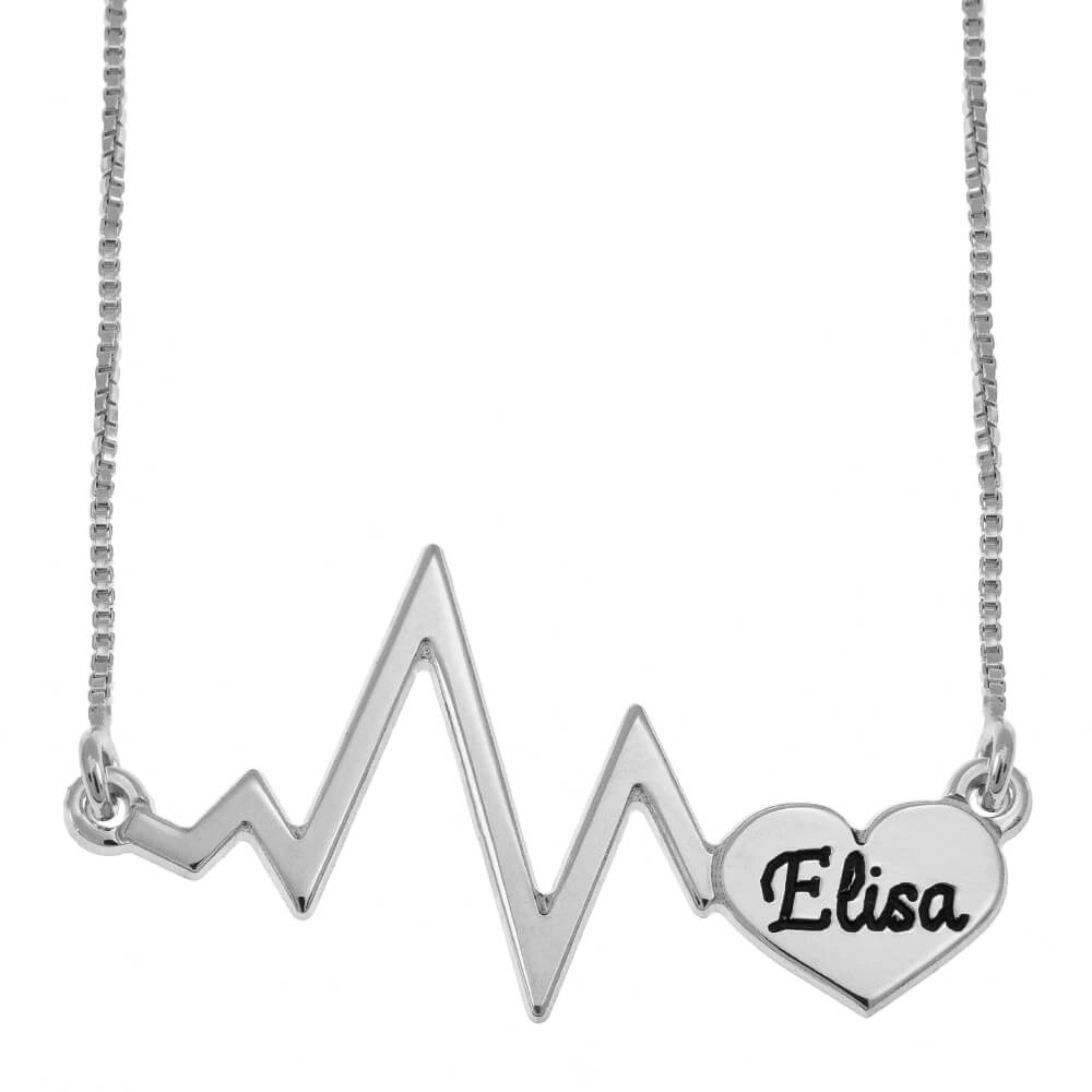 Heartbeat Name Necklace silver