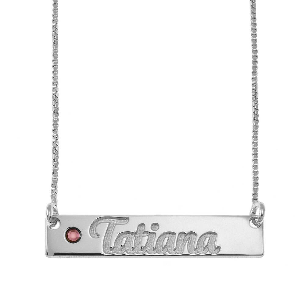 Horizontal Bar Name Necklace With Birthstone silver