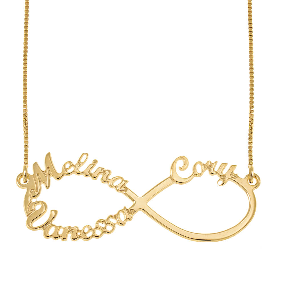 Infinity 3 Names Necklace gold