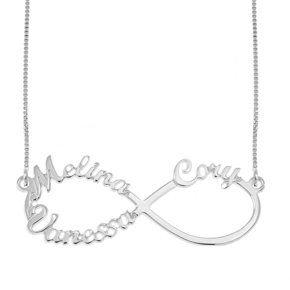 Infinity 3 Names Necklace silver