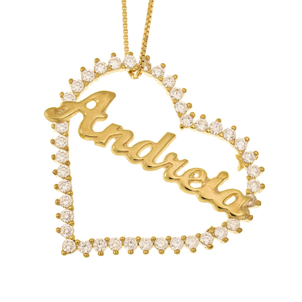 Inlay Big Heart Name Necklace gold