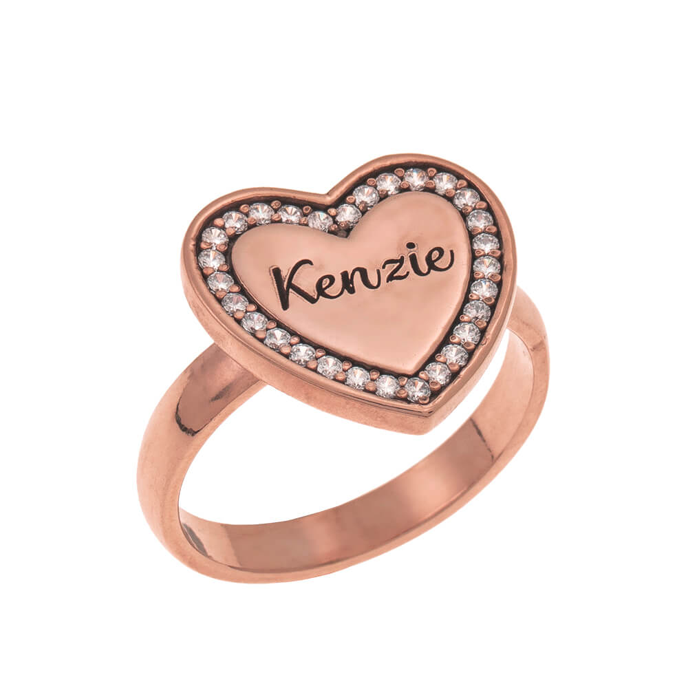 Inlay Heart Signet Ring rose gold