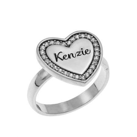 Inlay Heart Signet Ring