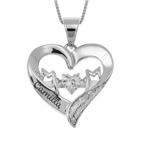 MoM Heart Necklace with Name