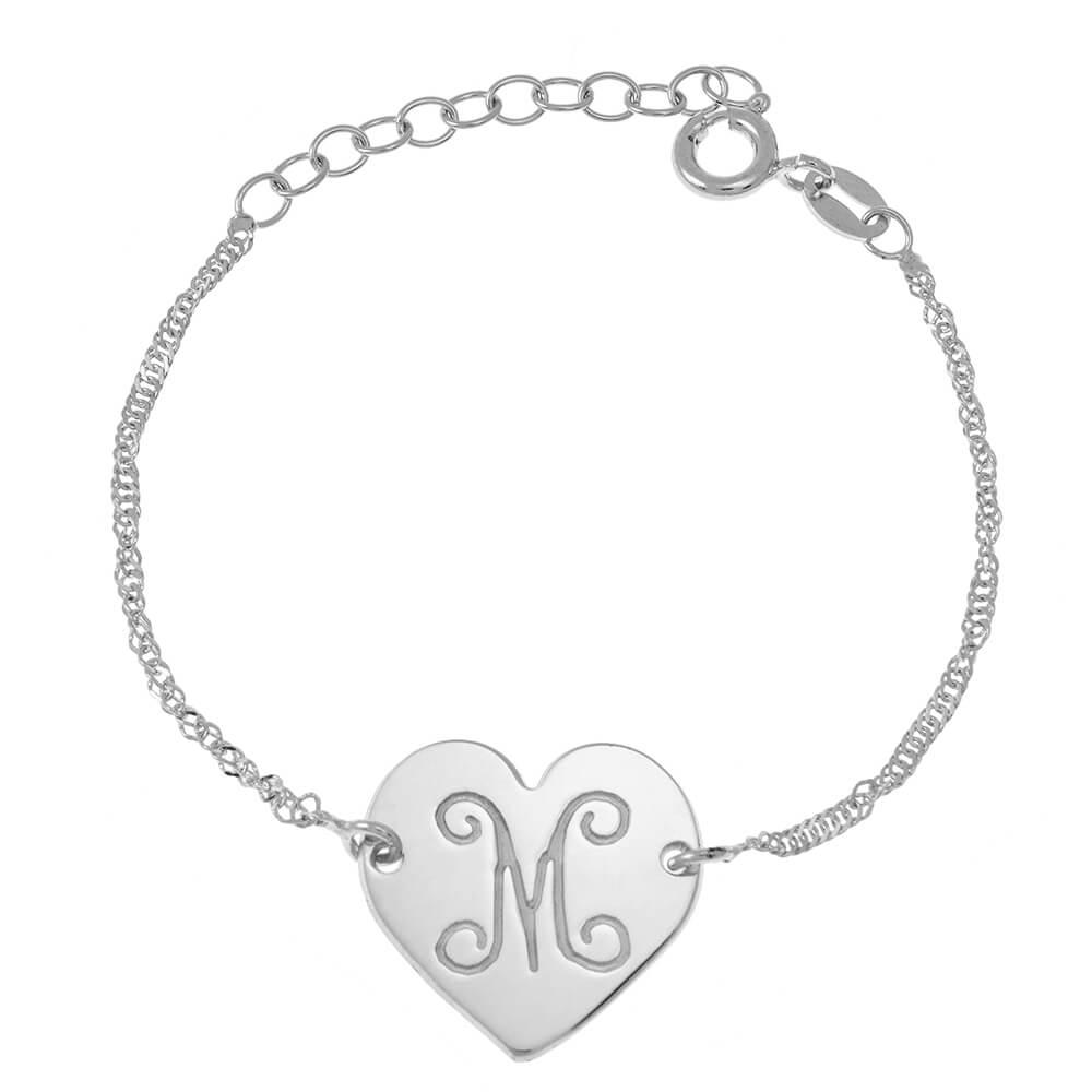Monogram Initial Heart Bracelet silver