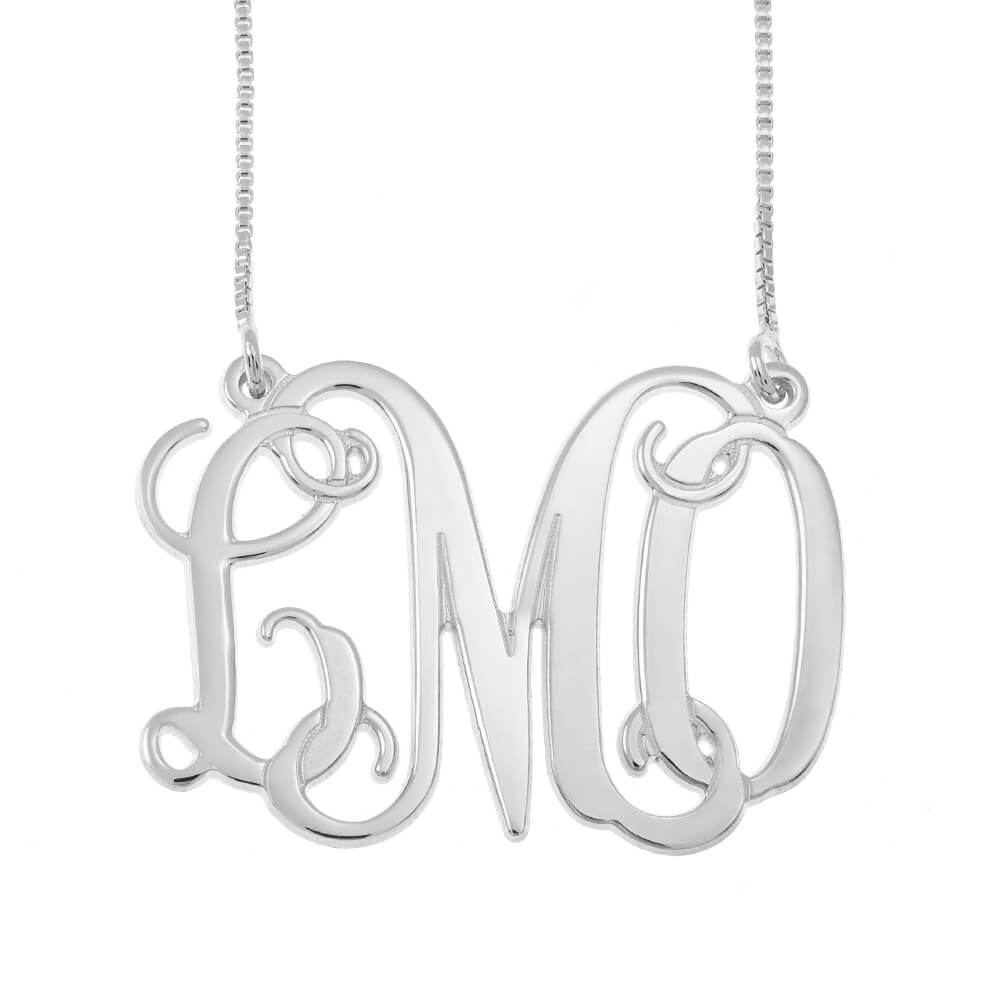 Monogram Initials Necklace silver
