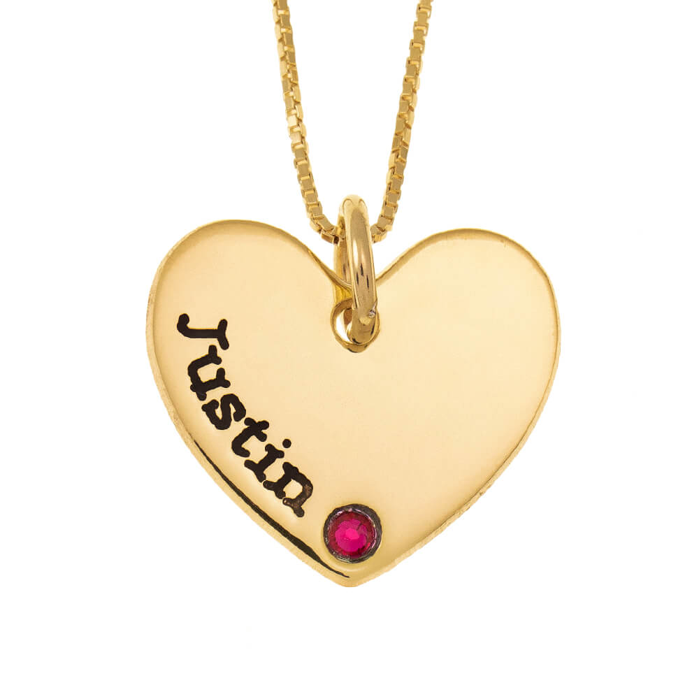 One Shade Engraved Heart Mother Necklace With Birthstone gold