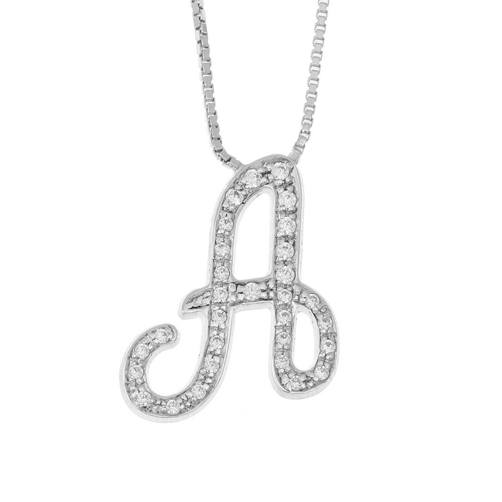 Sparkling Initial Necklace silver
