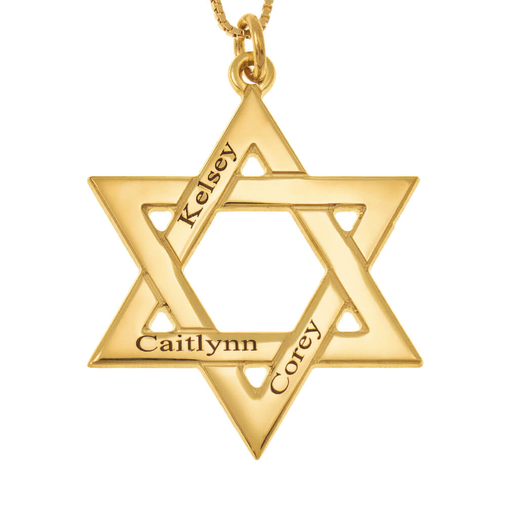 Star of David Names Necklace gold