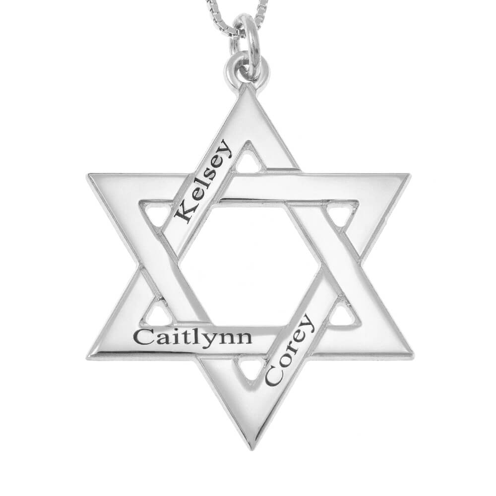 Star of David Names Necklace silver