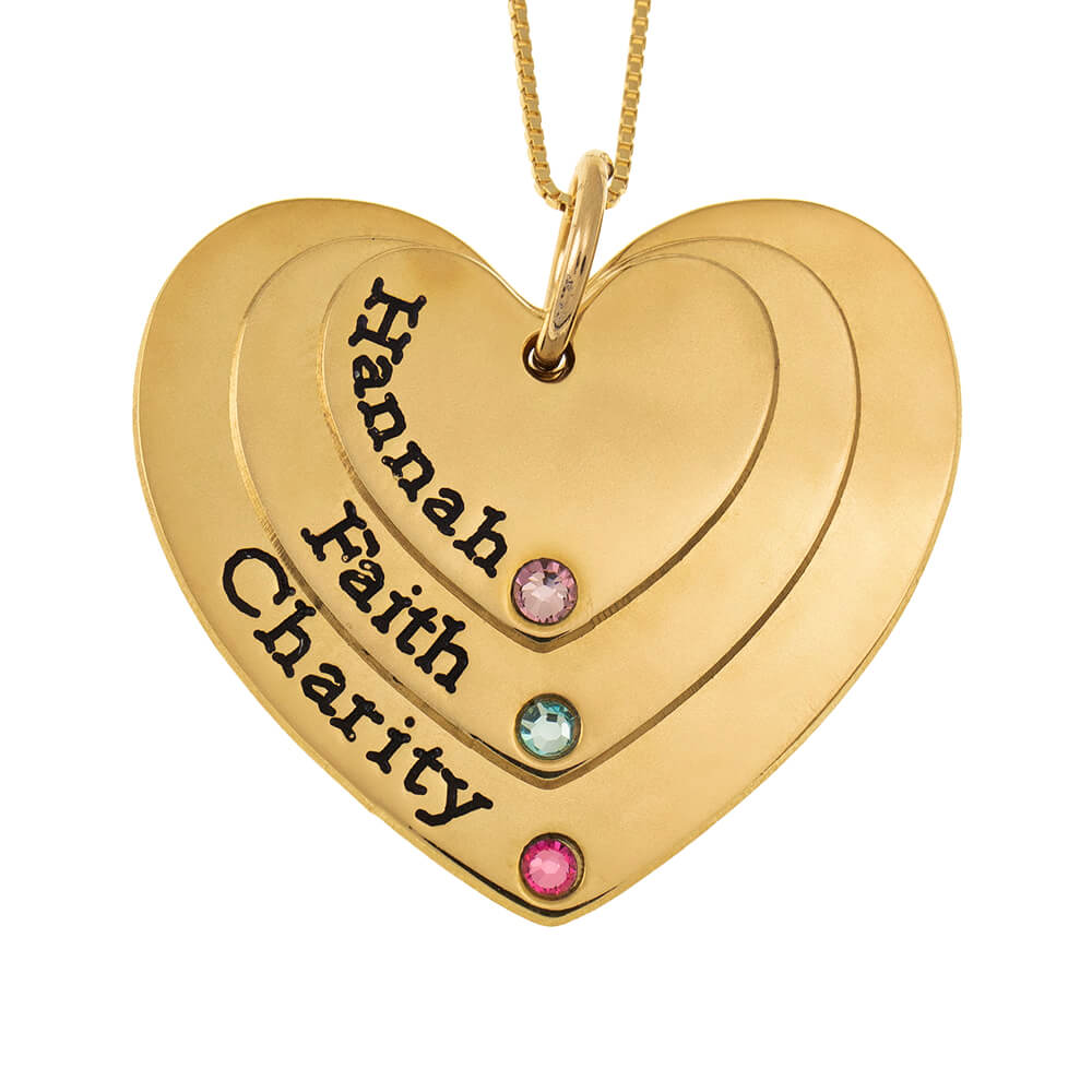Three Shades Engraved Hearts Mother Necklace With Birthstones gold