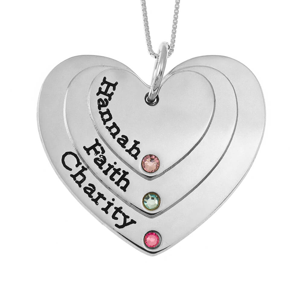 Three Shades Engraved Hearts Mother Necklace With Birthstones silver