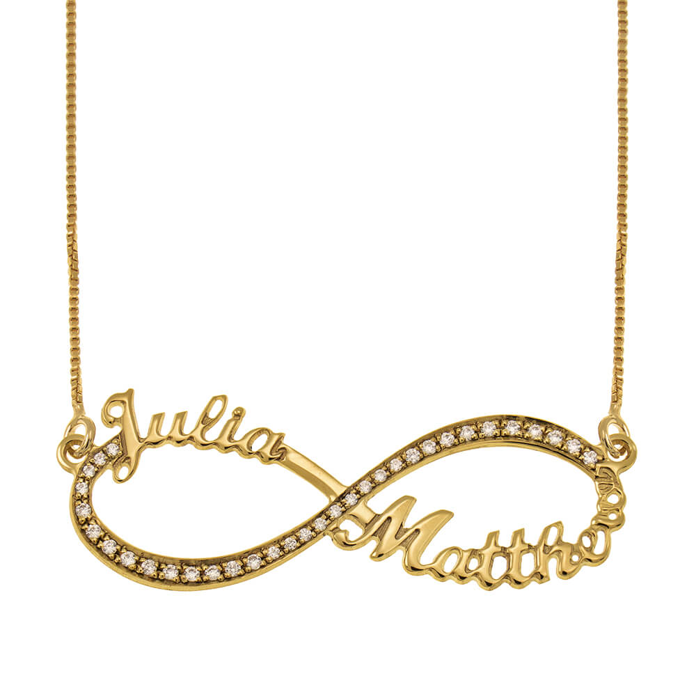 Tow Toned Engraved Infinity Necklace gold
