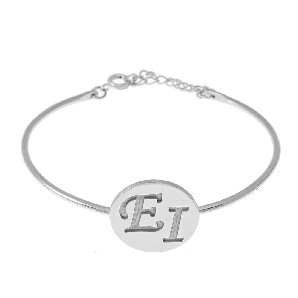 Two Initials Disc Bangle silver