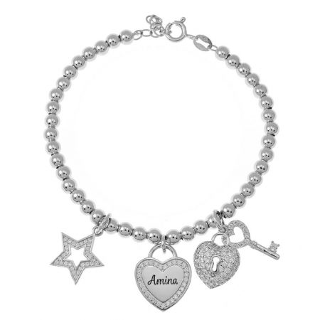 Bead Name Bracelet with Charms
