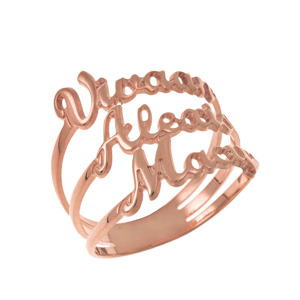 Cut Out 3 Names Ring rose gold