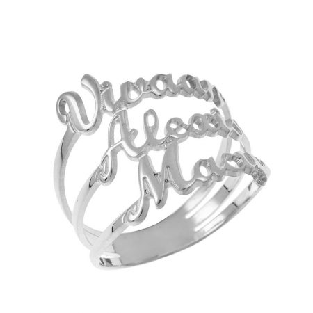 Cut Out 3 Names Ring