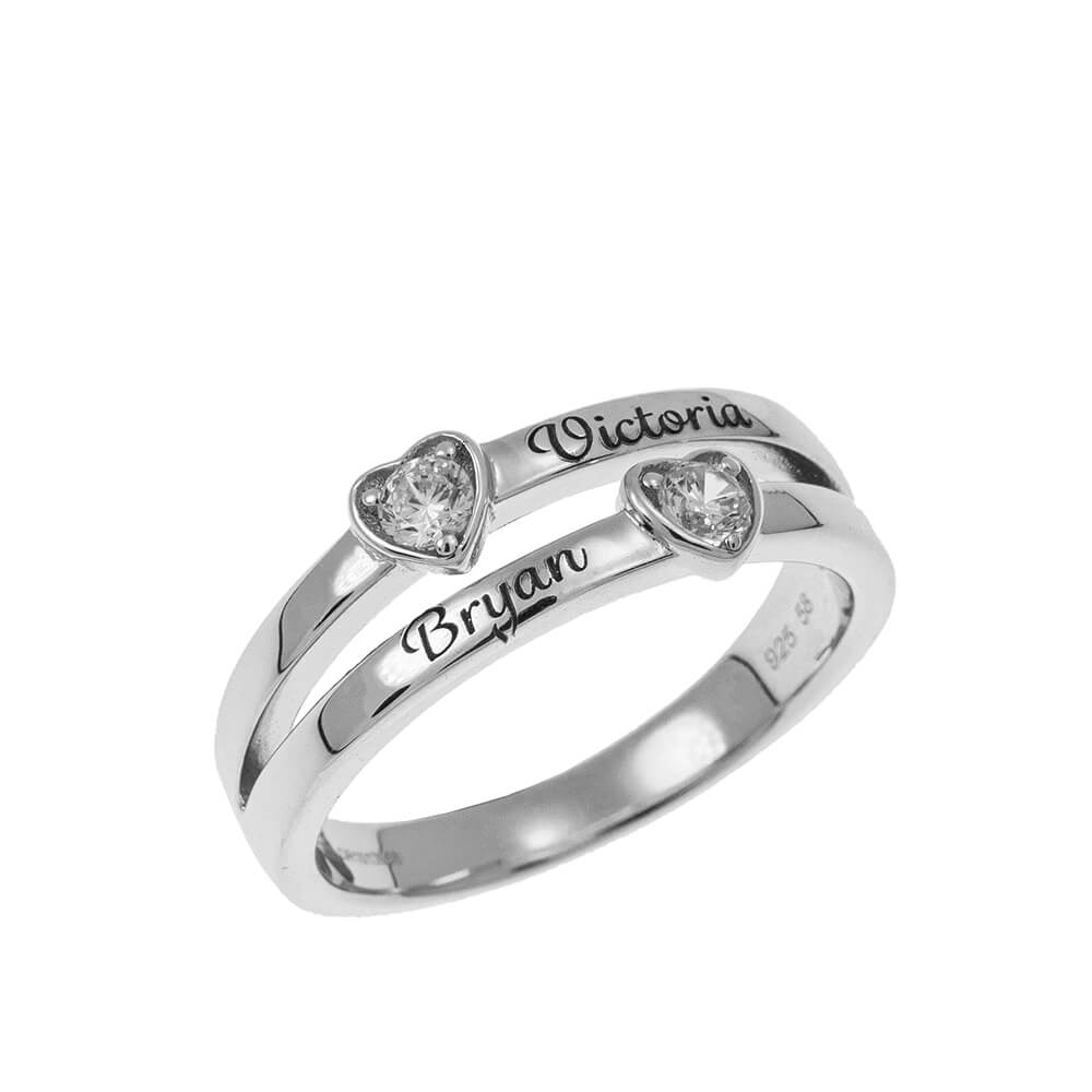 Double Heart Promise Ring silver