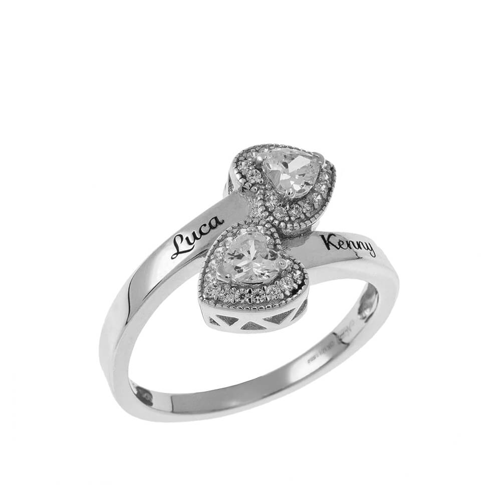 Double Inlay Heart Ring silver
