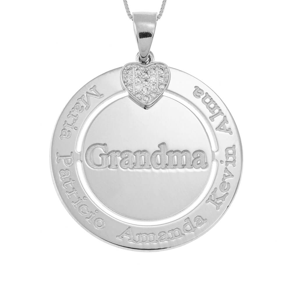 Engraved Circle Grandma Necklace with Inlay Heart silver