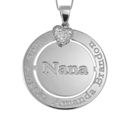 Engraved Circle Nana Necklace with Inlay Heart